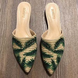 Schutz Elvan Rafia Palm Slides - Size 8.5 - NWT